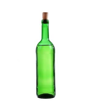 Butelka białego wina. na białym tle