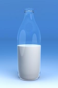 Butelka mleka na niebieskim tle