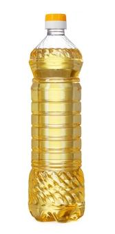 Butelka odizolowywająca na biel ścianie słonecznikowy olej.