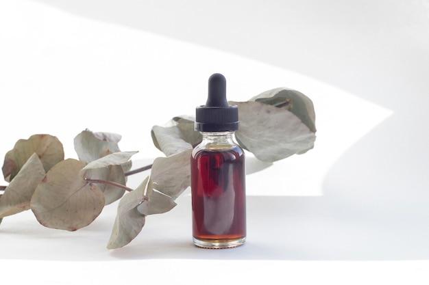 Butelka olejku eterycznego z suchymi liśćmi eukaliptusa.