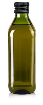 Butelka oliwy z oliwek na białym tle. plik zawiera ścieżkę przycinającą
