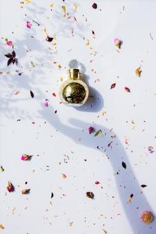Butelka perfum i kobiecy cień dłoni trzymający go suchymi kwiatami wokół na białej powierzchni