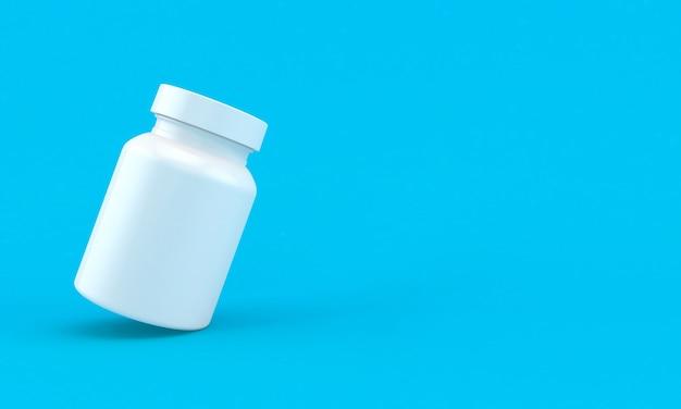 Butelka pigułki medycyny na jasnym niebieskim tle
