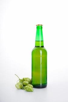 Butelka piwa i chmielu na białym tle na białej ścianie.