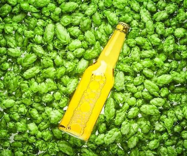 Butelka piwa leży na szyszkach chmielu, z bliska.