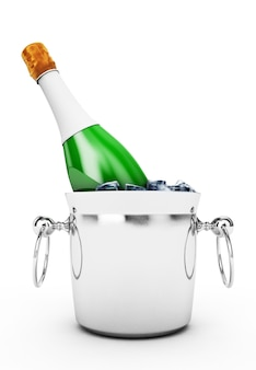 Butelka szampana w wiadrze z lodem na białym tle renderowanie 3d w wysokiej rozdzielczości