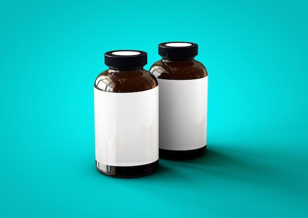 Butelka witamin 3d na białym tle na niebieskim tle toscha. odpowiedni dla twojego elementu projektu.