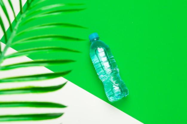 Butelka wody z palmami tropikalnymi, widok z góry