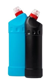 Butelka z detergentem toaletowym chemia gospodarcza na białym tle