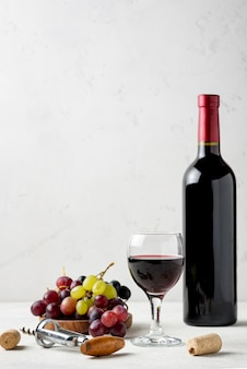 Butelka z widokiem z przodu, jeśli wino wykonane z ekologicznych winogron