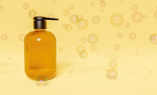 Butelka z żelem do rąk na żółtej powierzchni otoczona bańkami mydlanymi