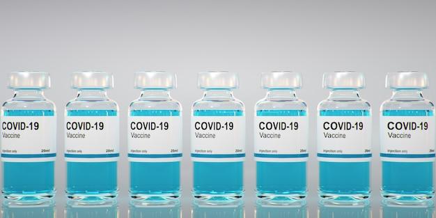 Butelka ze szczepionką coronavirus covid -19. sars-cov-2. szczepionka renderowania 3d