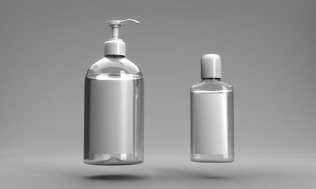 Butelki środka dezynfekującego do rąk