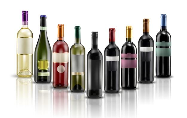 Butelki wina z etykietą na białym tle