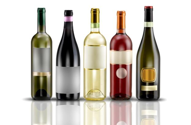 Butelki Wina Z Etykietą Na Białym Tle Premium Zdjęcia