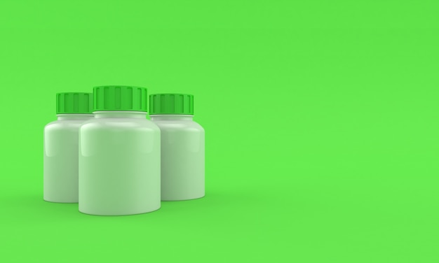 Butelki z lekami na jasnozielonym tle