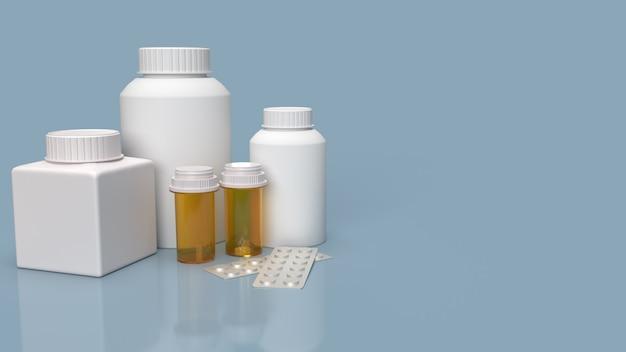 Butelki z lekarstwami i pigułki na niebieskiej powierzchni