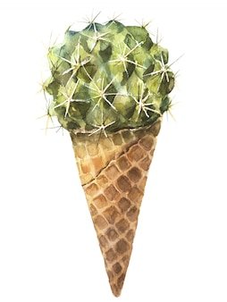 Cactus sweet yummy watercolor. ice cream fresh organic diet