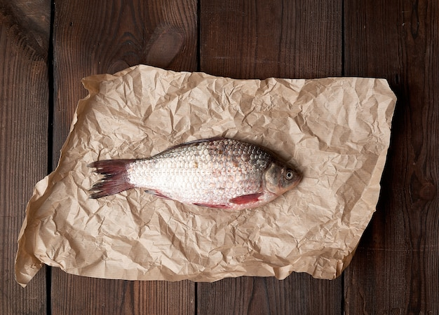 Cała świeża ryba z łuskami na zmiętym brązowym kawałku papieru