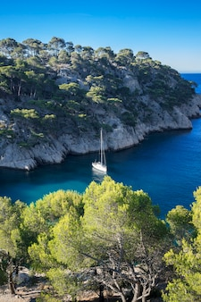 Calanques of port pin, widok pionowy, cassis, francja