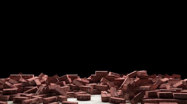 Całkowicie zniszczony mur z cegły na ciemnym tle z pustą przestrzenią