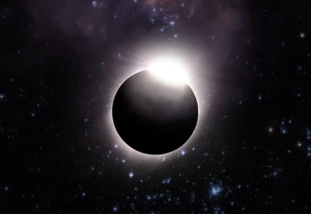 Całkowite zaćmienie słońca, widok z kosmosu z gwiazdami galaktyki w tle. elementy tego zdjęcia dostarczone przez nasa