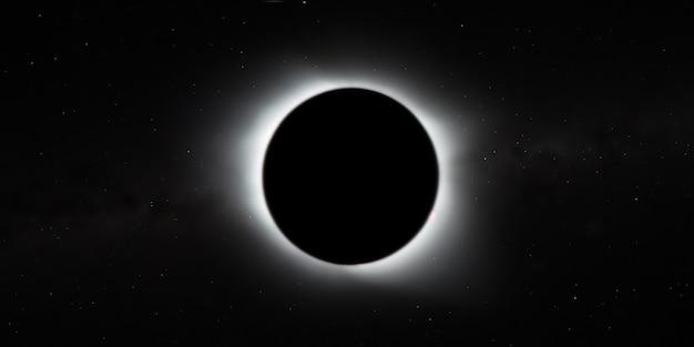 Całkowite zaćmienie słońca, widok z kosmosu z gwiazdami galaktyki w tle, szeroki baner. elementy tego zdjęcia dostarczone przez nasa