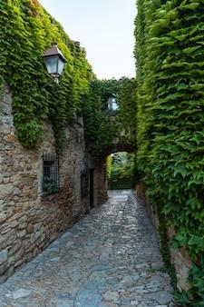 Calle de peratallada średniowieczne miasto, historyczne centrum, girona na costa brava w katalonii na morzu śródziemnym