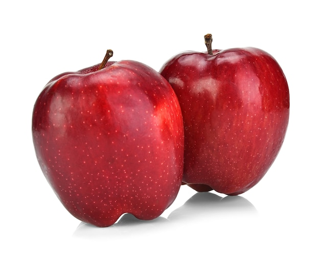 Cameo jabłka czerwone na białym tle.