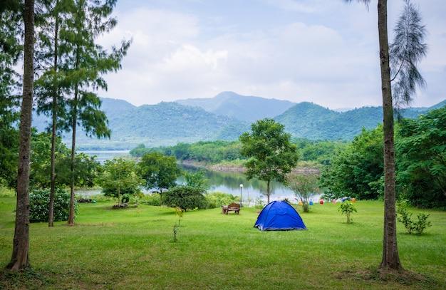 Camping i namiot w parku przyrody