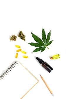 Cannabinol cbd, cząsteczka konopi. wzór chemiczny konopi lub konopi lub marihuany.