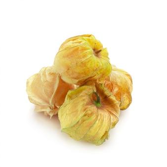 Cape gooseberry, miechunka owoców lub złotego berry samodzielnie nad białym tłem
