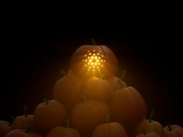 Cardano rzeźbione stos dyni kryptowaluta ilustracja 3d render ciemne oświetlenie