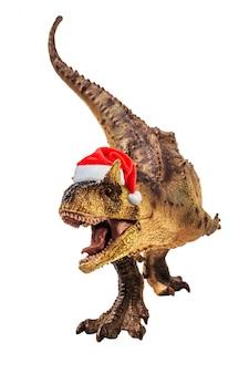 Carnotaurus dinosaur with christmas hat