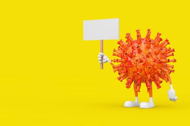 Cartoon coronavirus covid-19 maskotka osoba postać z pustym białym pustym banerem z wolnym miejscem na swój projekt na żółtym tle. renderowanie 3d