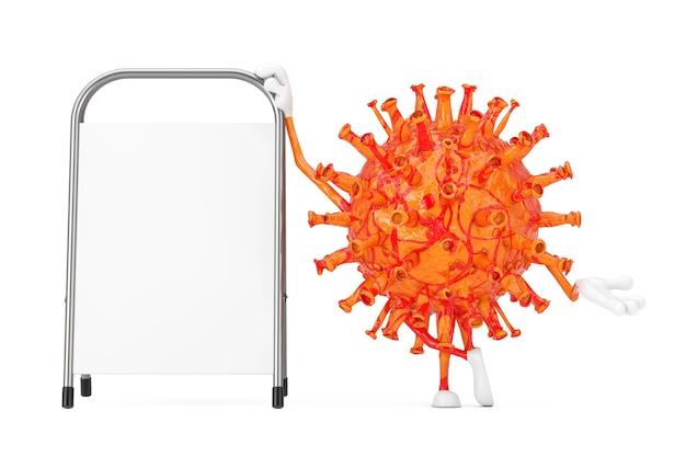 Cartoon coronavirus covid-19 wirus maskotka osoba charakter z białym pustym stojakiem reklamowym na białym tle. renderowanie 3d