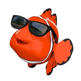 Cartoon fun błazenek morza czerwonego z okulary na białym tle. renderowanie 3d.