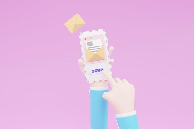 Cartoon hand, naciśnięcie powoduje wysłanie e-maila z aplikacją pocztową. koncepcja usługi pocztowej. ikona powiadomienia e-mail z wiadomością e-mail. ilustracja 3d