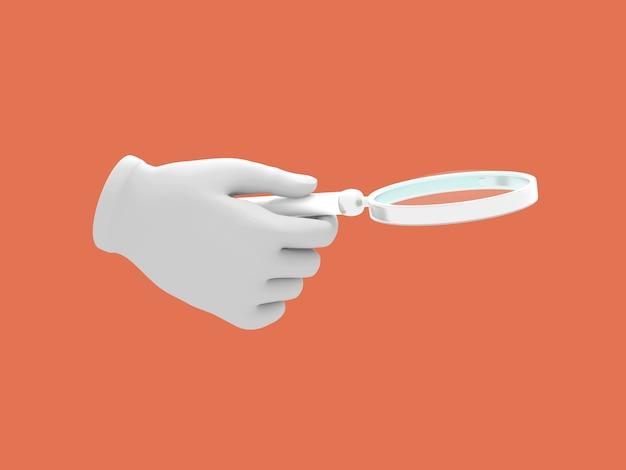 Cartoon ręki trzymającej lupa