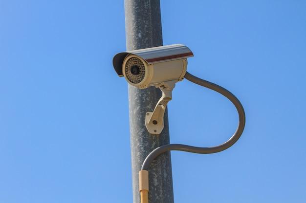 Cctv kamera bezpieczeństwa, obwód zamknięty telewizja na nieba tle