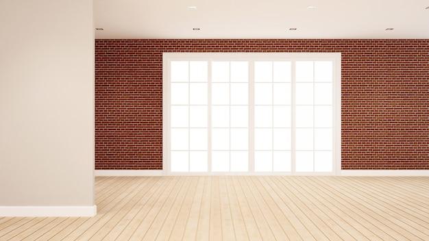 Ceglana ściana dekoracja w pustym pokoju dla mieszkania lub hotelu grafiki