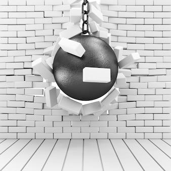 Ceglany mur zepsuty przez wrecking ball