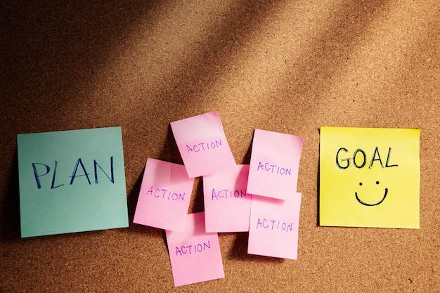 Cel, plan, wyzwanie i koncepcja strategii. karteczkę na tablicy korkowej na biurku.