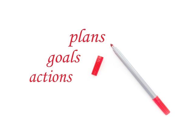 Cele, plany, tekst działań na białym tle. motywacja biznesowa, pomysły.