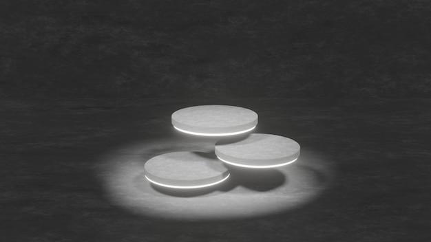 Cementowa platforma na podium do prezentacji produktów w ciemnym pokoju
