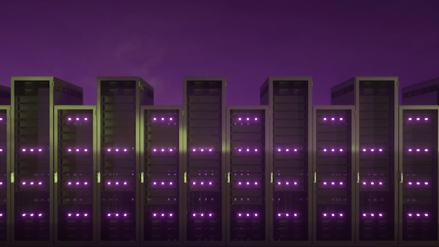 Centrum danych z niekończącymi się serwerami. renderowanie 3d