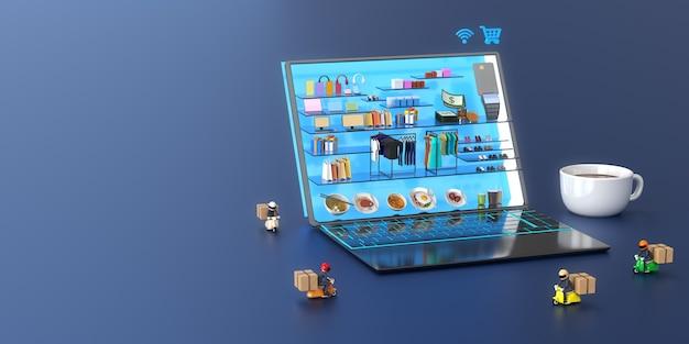 Centrum handlowe online w laptopie z dostawcą i filiżanką kawy