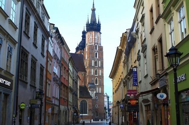 Centrum krakowa bazylika ulica kraków