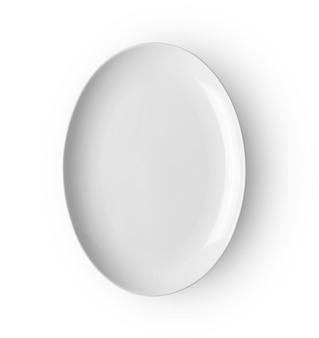 Ceramiczny talerz odizolowywający na białym backgroud. widok z góry