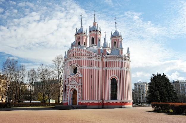 Cerkiew chesme church w sankt petersburgu na wiosnę